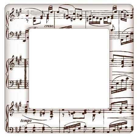 De muziek neemt nota fotolijstje voor concerten, voorstellingen, recitals, evenementen, advertenties, flyers met vierkante kopie ruimte.
