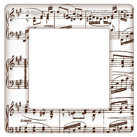 sixteenth note: Music notes picture frame for concerts, performances, recitals, events, announcements, fliers with square copy space. Illustration