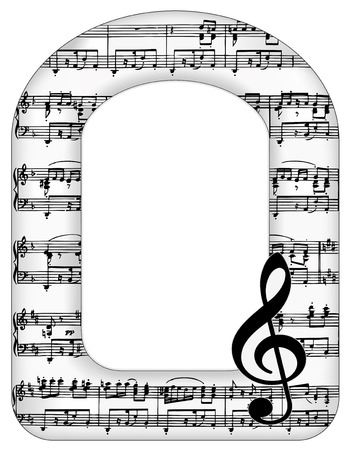 Music Notes Arch Picture Frame, treble clef with copy space for announcements, concerts, performances, recitals, musical events. Illustration