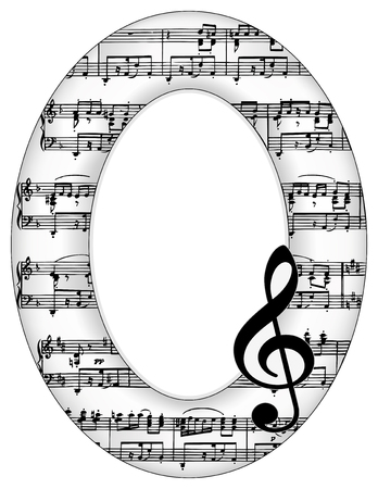 sixteenth note: Music Notes Oval Picture Frame, treble clef with copy space for announcements, concerts, performances, recitals, musical events.