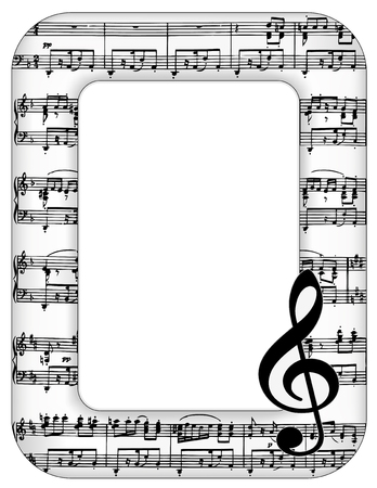 Music Notes Picture Frame, treble clef with copy space for announcements, concerts, performances, recitals, musical events. Illustration