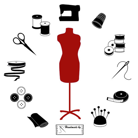 Sewing and Tailoring Icons, fashion model, tools, supplies for sewing, tailoring, dressmaking, needlework, crafts, black and white circle design. Illustration