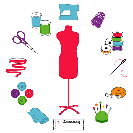 Sewing and Tailoring Icons, fashion model, tools, supplies for sewing, tailoring, dressmaking, needlework, crafts, pastel circle design.
