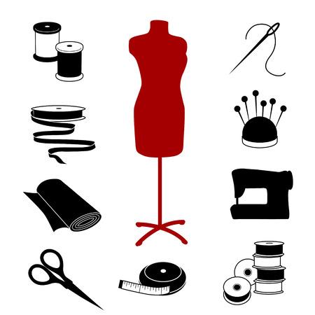 kit de costura: Corte y confección iconos, modelo de moda, herramientas, insumos para la costura, sastrería, corte y confección, costura, artes, diseño blanco y negro.