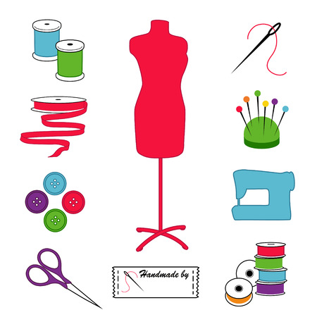 tailoring: Sewing and Tailoring Icons, fashion model, tools, supplies for sewing, tailoring, dressmaking, needlework, crafts, pastel design.