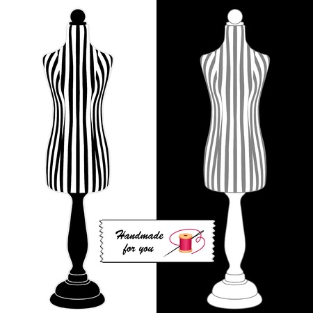 gray thread: Fashion model mannequins, black and white stripes with black pedestal, gray and white stripes with white pedestal, Handmade for You sewing label, needle and thread.