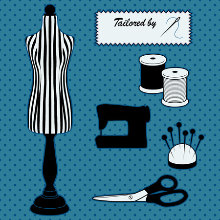 tailored: Fashion Model Mannequin in black and white stripes, Tailored by sewing label, DIY sewing and tailoring tools, sewing machine, needle and thread, pincushion, scissors, polka dot design on blue background.