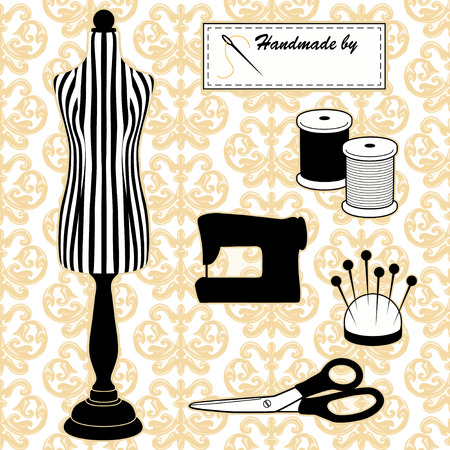 Sewing Fashion Model Mannequin in black and white stripes, vintage Damask pattern background, DIY tailoring tools, sewing machine, Handmade by label, needle and thread, pincushion, scissors.