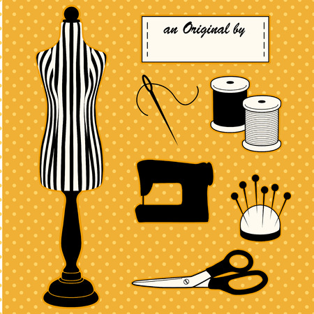 tailoring: Sewing Fashion Model Mannequin in black and white stripes, DIY sewing and tailoring tools, sewing machine, An Original by... sewing label, needle and thread, pincushion, scissors, polka dot design on gold background.
