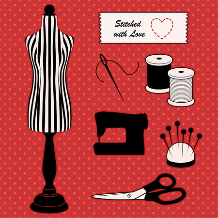 notions: Fashion Model Mannequin in black and white stripes, Stitched with Love sewing label, DIY sewing and tailoring tools, sewing machine, needle and thread, pincushion, scissors, polka dot design on red background.
