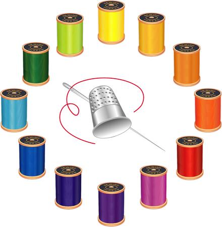 Zilveren vingerhoed, naald en klosjes garen, 12 levendige kleuren in de cirkel ontwerp op een witte achtergrond voor doe het zelf naaien, kleding, quilten, ambachten, handwerken.