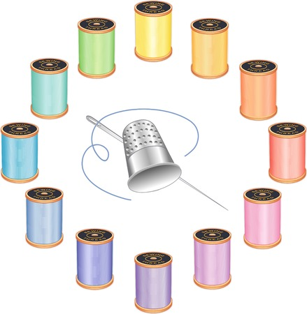 Silver thimble, needle and threads, 12 pastel colors in circle design isolated on white background for do it yourself sewing, tailoring, quilting, crafts, needlework.