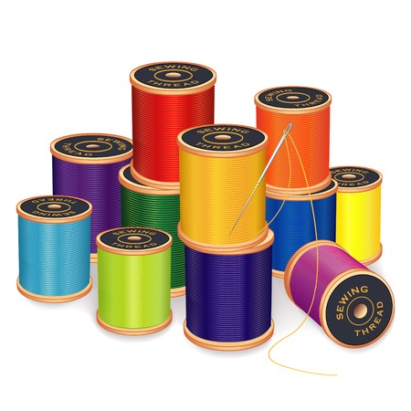 Needle and 11 spools of thread in bright colors for sewing, tailoring, quilting, embroidery, crafts, needlework, do it yourself projects, isolated on white background. Illustration