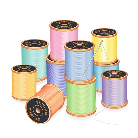 Needle and 10 spools of thread in pastel colors for sewing, tailoring, quilting, embroidery, crafts, needlework, do it yourself projects, isolated on white background.