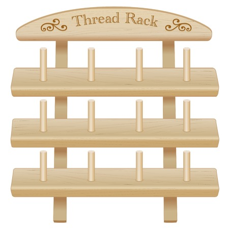 do it yourself: Wood Thread Spool Storage Rack, engraved text and scrolls, three pine shelves with pegs, for sewing, tailoring, quilting, crafts, embroidery, do it yourself projects, isolated on white background.
