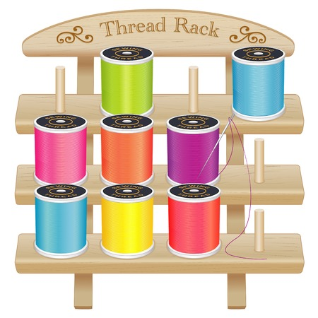 three shelves: Wood Thread Spool Storage Rack, engraved text and scrolls, three pine shelves with pegs, silver needle, summer bright color threads for sewing, tailoring, quilting, crafts, embroidery, do it yourself projects, isolated on white background.