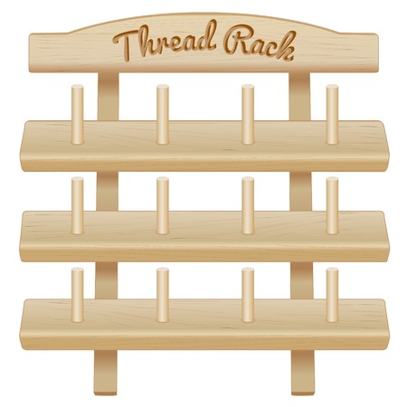 tailoring: Wood Thread Spool Storage Rack, engraved text, three pine shelves with pegs for sewing, tailoring, quilting, crafts, embroidery, do it yourself projects, isolated on white background.