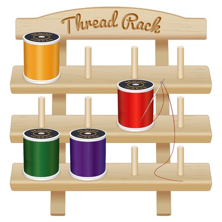three shelves: Wood Thread Storage Rack, engraved text, three pine shelves with pegs, silver needle, multicolor spools of thread for sewing, tailoring, quilting, crafts, embroidery, do it yourself projects, isolated on white background.