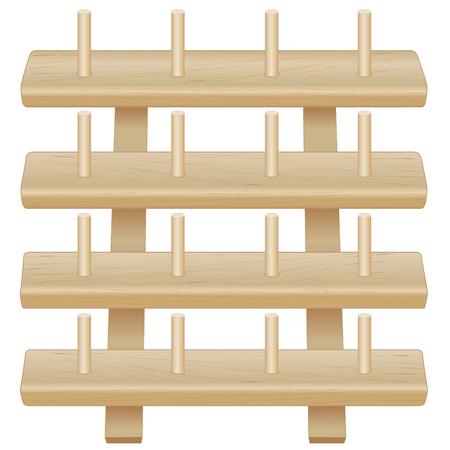나무 스레드 스풀 스토리지 랙, 바느질, 재단, 퀼 팅, 공예품, 자 수에 대 한 못와 함께 4 개의 소나무 선반 흰색 배경에 고립 된 그것 스스로 프로젝트.