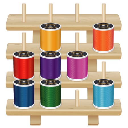 pegs: Wood Thread Storage Rack, four pine shelves with pegs, eight multicolor spools of thread for sewing, tailoring, quilting, crafts, embroidery, do it yourself projects, isolated on white background.