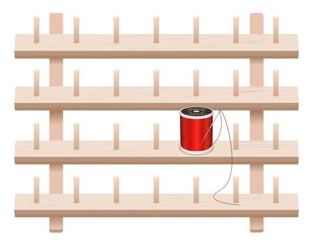 furnier: Wand Thema Storage Rack, vier Regalkiefernholz mit Zapfen, Nadel und Spule des Threads zum N�hen, Schneidern, Quilten, Handwerk, Stickereien, DIY-Projekte, isoliert auf wei�em Hintergrund.