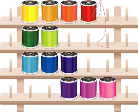 tailoring: Wall Thread Storage Rack, four shelf pine wood with pegs, needle, 12 multicolor spools of thread for sewing, tailoring, quilting, crafts, embroidery, DIY projects, isolated on white background.