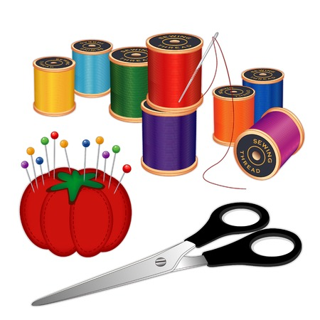 Sewing Kit with silver needle, spools of multicolor thread, scissors, pincushion, straight pins, for sewing, tailoring, quilting, crafts, embroidery, needlework, DIY projects, isolated on white background.