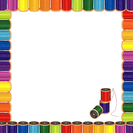 coser: Aguja de costura y marco Hilos membrete Cartel, carretes de hilo de coser multicolor con aguja de coser para la costura, sastrer�a, acolchar, manualidades, costura, h�galo usted mismo los proyectos, aislado en blanco.