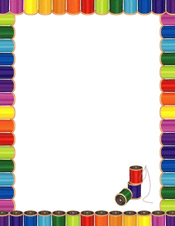darning: Sewing Needle and Threads Letterhead Poster Frame, spools of multicolor sewing thread with embroidery needle for sewing, tailoring, quilting, crafts, needlework, do it yourself projects, isolated on white.