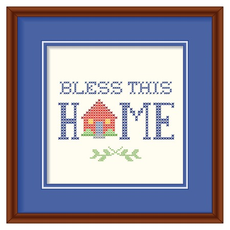 this: Bless This Home retro cross stitch embroidery design, needlework house on blue background mat, square dark wood frame isolated on white background. Illustration