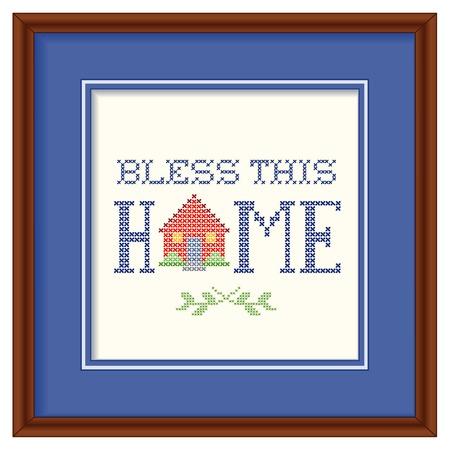 Zegen dit huis retro kruissteek borduren ontwerp, handwerk huis op een blauwe achtergrond mat, vierkante donkere houten frame geïsoleerd op een witte achtergrond. Stock Illustratie