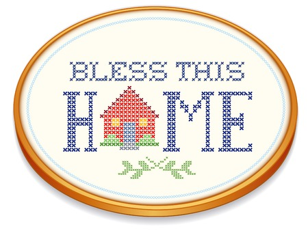 this: Bless This Home retro needlework design, cross stitch house, oval wood embroidery hoop isolated on white background. Illustration