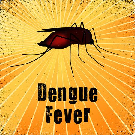 dengue: Dengue, zanzare, illustrazione grafica con raggi grunge fondo oro. Vettoriali