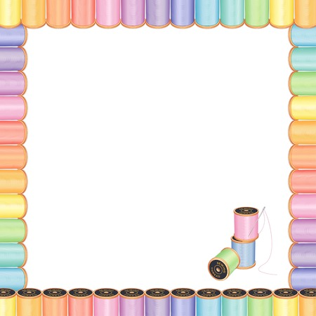 crewel: Sewing Needle and Threads Poster Frame with spools of multicolor pastel thread for sewing, tailoring, quilting, crafts, needlework, do it yourself projects, isolated on white.