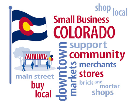 patronize: Colorado Flag with small business word cloud illustration to encourage shopping at local and community business, shoppers on Main Street, red, white, blue and gold Colorado state flag of the United States of America.