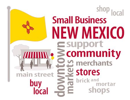 main street: New Mexico Flag with small business word cloud illustration to encourage shopping at local and community business, shoppers on Main Street, bright gold with red Zia symbol New Mexico state flag of the United States of America.