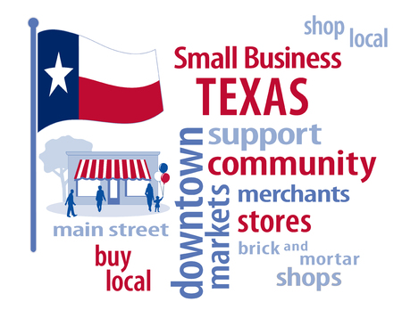 lone: Texas Flag with small business word cloud illustration to encourage shopping at local and community business, shoppers on Main Street, red, white and blue Texas Lone Star State flag of the United States of America.