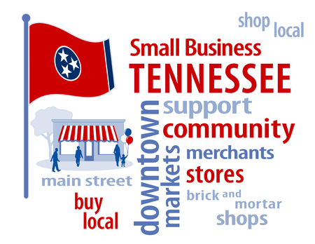 buy local: Tennessee Flag with small business word cloud illustration to encourage shopping at local and community business, shoppers on Main Street, red white and blue Tennessee state flag of the United States of America.
