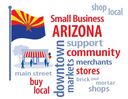 small business: Arizona Flag with small business word cloud illustration Illustration