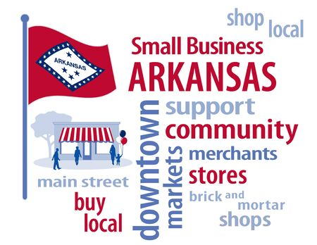 small business: Arkansas Flag with small business word cloud illustration