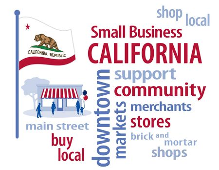 patronize: California Flag with small business word cloud illustration