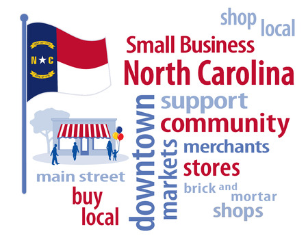 carolina: North Carolina Flag with small business word cloud illustration to encourage shopping at local and community business, shoppers on Main Street, red, white and blue North Carolina the Tar Heel State flag of the United States of America.