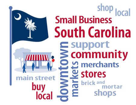 patronize: South Carolina Flag with small business word cloud illustration to encourage shopping at local and community business, shoppers on Main Street, blue and white South Carolina Palmetto State flag of the United States of America.
