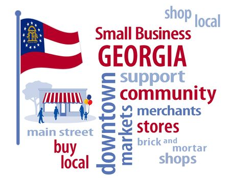 patronize: Georgia Flag with small business word cloud illustration to encourage shopping at local and community business, shoppers on Main Street, red, white and blue Georgia the Peach State flag of the United States of America.