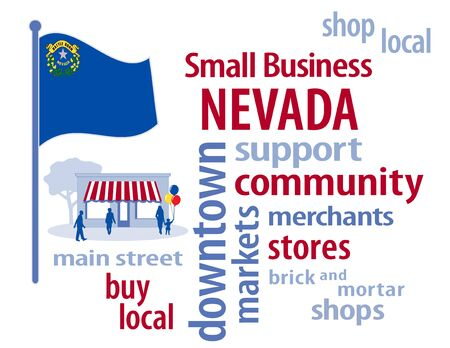 patronize: Nevada Flag with small business word cloud illustration to encourage shopping at local and community business, shoppers on Main Street, blue, silver and gold Nevada the Silver State flag of the United States of America.