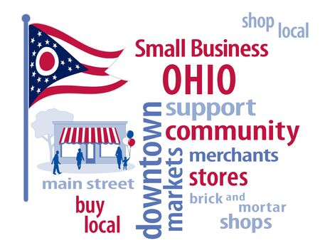 patronize: Ohio Flag with small business word cloud illustration to encourage shopping at local and community business, shoppers on Main Street, blue, red stripes and white stars Ohio the Buckeye State flag of the United States of America. Illustration