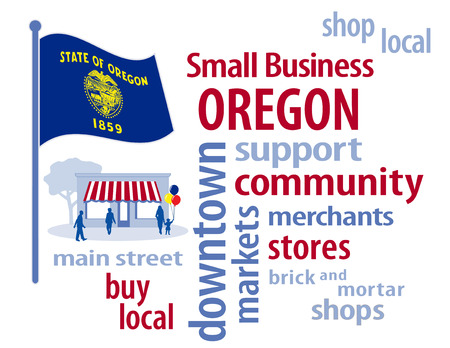 patronize: Oregon Flag with small business word cloud illustration to encourage shopping at local and community business, shoppers on Main Street, blue and gold Oregon the Beaver State flag of the United States of America.