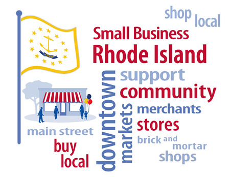 patronize: Rhode Island Flag with small business word cloud illustration to encourage shopping at local and community business, shoppers on Main Street, white, blue and gold Rhode Island the Ocean State flag of the United States of America.
