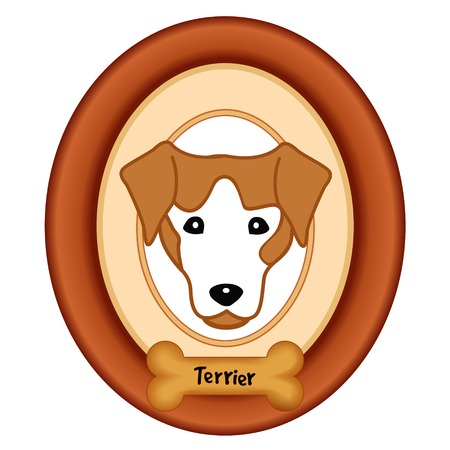 cherry wood: Terrier dog portrait in cherry wood mat frame dog bone treat tag isolated on white background.