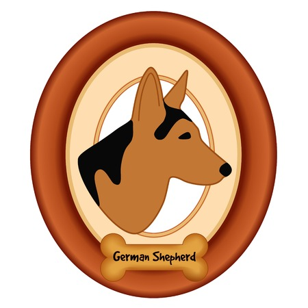 watchdog: German Shepherd dog profile portrait in cherry wood mat frame dog bone treat tag isolated on white background.